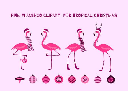 Christmas Pink Flamingo Set for Tropical Christmas Design. Birds in Santa hats, scarfs, garland, glass of champagne, Christmas baubles.