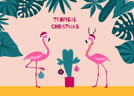 Tropical Christmas greeting card with flamingos decorating a cactus as a Christmas tree. Cute illustration for seasonal holidays in flat cartoon style