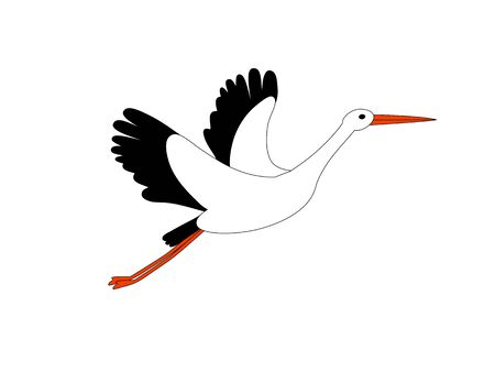 Stork flying isolated on white. Bird as symbol for news, delivery, pregnancy, baby shower. Vector illustration.