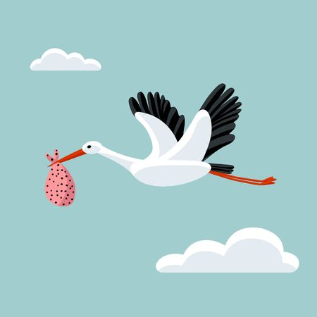 White stork flying and carrying a bundle. Symbol for baby shower, news, delivery, pregnancy. Cute colorful vector illustration.