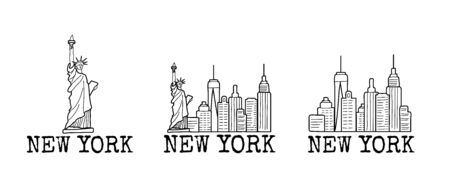 New York skyline cityscape line drawings set. Vector sketch illustration