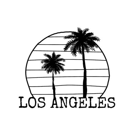 Los Angeles symbol line drawing with palm tree silhouette. Vector sketch illustration isolated on white.