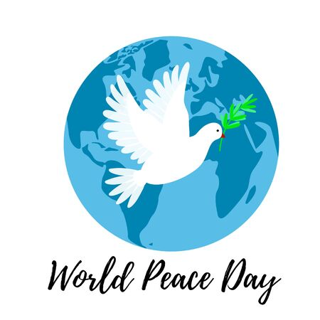 Peace Day poster with a white dove flying over an earth planet. Pingeon bird holding an olive branch.