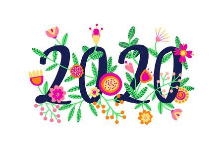2020 Frohes neues Typografie-Textdesign mit Blumen verziert. Blumenkonzept. Bunte Vektorillustration. Flache Karikatur Vektorgrafik