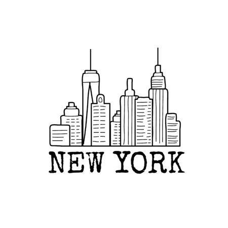 New York skyline cityscape line drawing. Vector sketch illustration isolated on white.