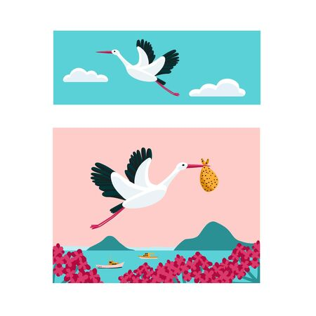 White stork banner set. Bird flying among clouds in the sky. Stork carrying a bundle. Symbol for pregnancy, delivery, news. Colorful vector illustration.