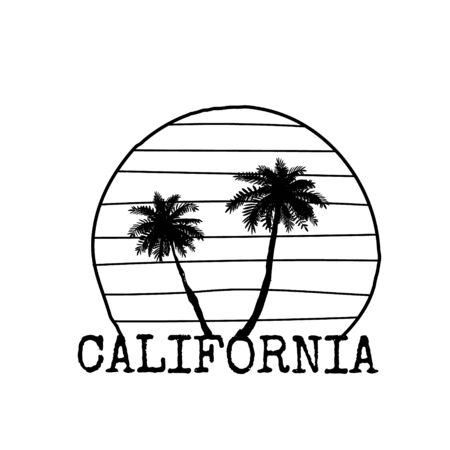 California symbol line drawing with palm tree silhouette. Vector sketch illustration isolated on white. 일러스트