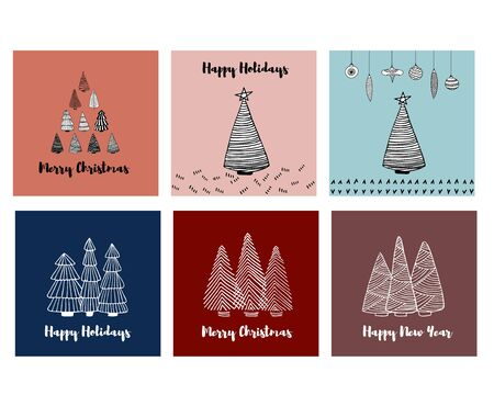 Merry Christmas Happy Holidays greeting cards set with doodle sketched fir trees. Line drawing. Hand drawn illustration. Vector Archivio Fotografico - 137369682