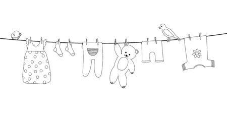Baby clothes on clothesline. Kid apparel after washing hanging on a rope. Laundry for newborn, girl or boy. Vector outline 向量圖像