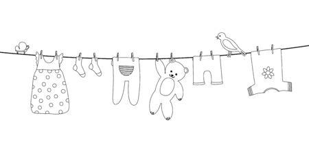 Vêtements de bébé sur corde à linge. Vêtements pour enfants après le lavage suspendus à une corde. Blanchisserie pour nouveau-né, fille ou garçon. Contour de vecteur