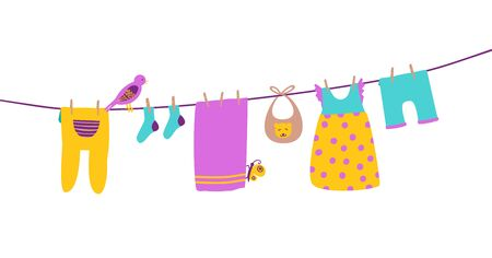 Baby clothes on clothesline hanging and drying. Clean and bright apparel. Cartoon vector illustration isolated on white.