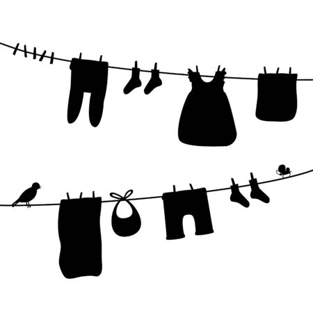 Baby clothes on clothesline. Laundry silhouette illustration. Kid apparel after washing hanging on a rope. For newborn, girl or boy. Vector isolated
