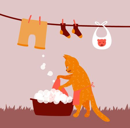Funny cat doing laundry as a housewife. Housework illustration for washing and hanging clothes for drying on clothesline. Vector