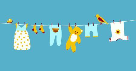 Vêtements de bébé sur corde à linge suspendus et séchés. Vêtements propres sur une corde. Illustration vectorielle coloré sur bleu