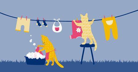 Due gatti divertenti che fanno il bucato come casalinga. Illustrazione di lavori domestici per lavare e appendere i vestiti per l'asciugatura su stendibiancheria. Routine di lavoro. Vettoriali