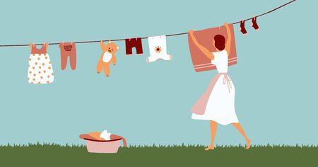 Woman doing laundry outdoor. Girl hanging clothes on rope for drying after washing. Vector cartoon flat design