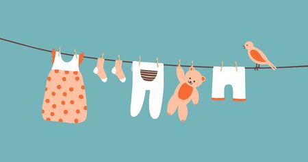 Baby clothes on clothesline hanging and drying. Clean apparel on a rope. Colorful vector illustration on blue background.
