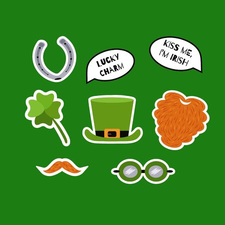 St. Patricks Day sticker set. Red beard, whiskers, shamrock, leprechaun hat, horseshoe, speech bubbles with quotes. Lucky charm. Kiss me, I'm Irish. Vector illustration.