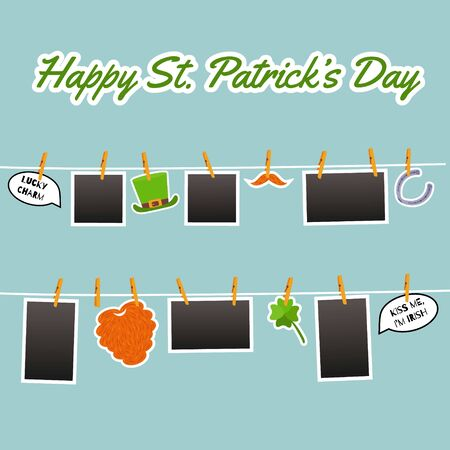 Photo hanging on the rope pinned with clothespins. Stickers for St. Patrick Day. Cute symbols: beard, shamrock, green hat, horseshoe, speech bubble with quotes. Vector cartoon flat Illustration