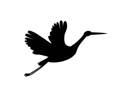 Stork silhouette. Black bird flying isolated on white. Symbol for news, delivery, pregnancy, baby shower.