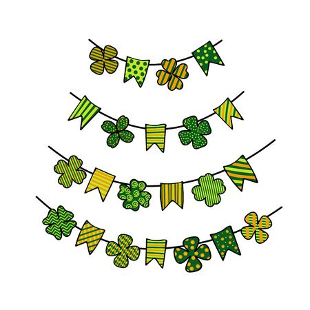 St. Patricks day bunting with patterned clover leaves and garland flags. Design elements for festive backgrounds, cards, posters, banners. Vector Archivio Fotografico - 137934817