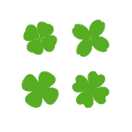 Clover leaf plant icon set. Symbol for St. Patricks Day and luck. Vector illustration isolated Archivio Fotografico - 137934819
