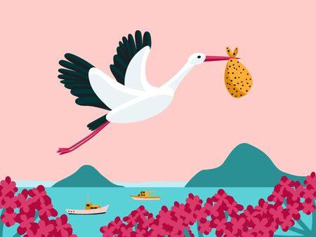White stork flying and carrying a bundle. Great as baby shower invitation Archivio Fotografico - 137875400