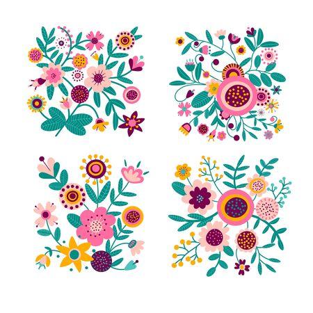 Set of floral bouquet of fantasy folk flowers. Botanical Illustration on white. Summer or spring motif for embroidery, greeting card, wedding decoration. Foto de archivo - 137890351