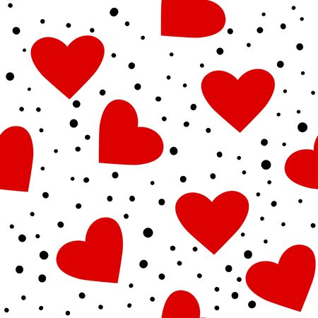 Heart pattern. Love seamless dotted background. Great for Valentines Day, wedding. Vector repeated design. Cartoon flat