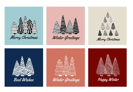 Merry Christmas cards set with doodle sketched fir trees. Line drawing. Hand drawn illustration. Vector