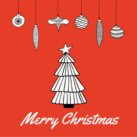Cute Merry Christmas greeting card with Christmas tree and hanging Christmas decortion bauble. Line drawing. Vector illustration.