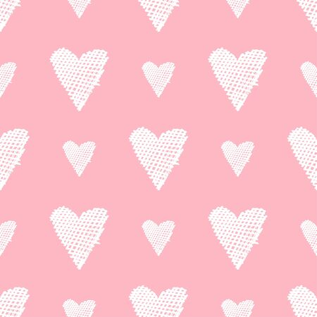 Hearts hand drawn on pink background. Seamless pattern. Cute vector illustration. Great for wedding, Valentines Day