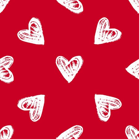 Red background with painted hearts as symbols for love, wedding, Valentines day. Vintage seamless pattern. Cute simple repeated design.
