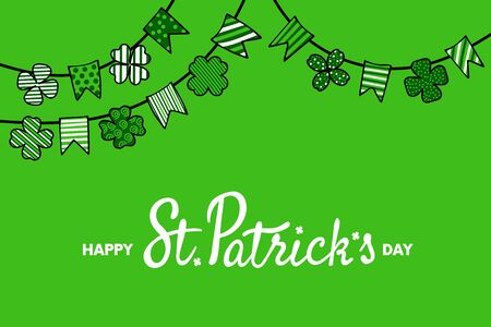 St. Patricks Day Banner with lettering and garland made of patterned pennants and shamrocks. Vector illustration. Archivio Fotografico - 138178564