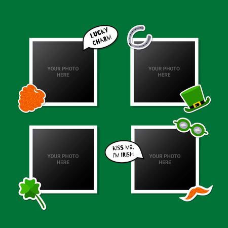 Photo frames set decorated with St. Patricks Day stickers. Great for scrapbooking or memory album. Vector illustartion. Reklamní fotografie - 138202115