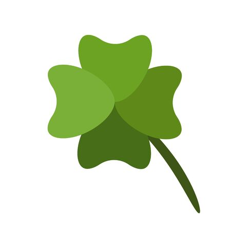 Shamrock Icon. Four Leaf Clover Leaf. Lucky Symbol. Colorful cartoon illustration isolated on white. Vector 일러스트