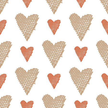 Heart seamless pattern with hand drawn elements. Repeated design great for Valentines Day, Birthday Wrapping, Scrapbooking Paper and Wedding Banner. Vector Illustration