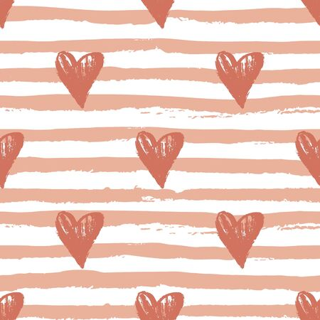 Heart seamless pattern with hand drawn elements. Repeated design great for Valentines Day, Birthday Wrapping, Scrapbooking Paper and Wedding Banner. Vector Ilustração