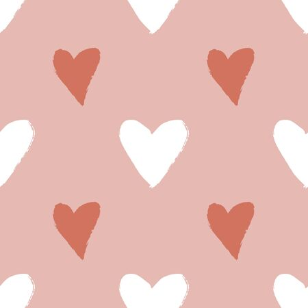 Heart seamless pattern with hand drawn elements. Repeated design great for Valentines Day, Birthday Wrapping, Scrapbooking Paper and Wedding Banner. Vector Ilustrace