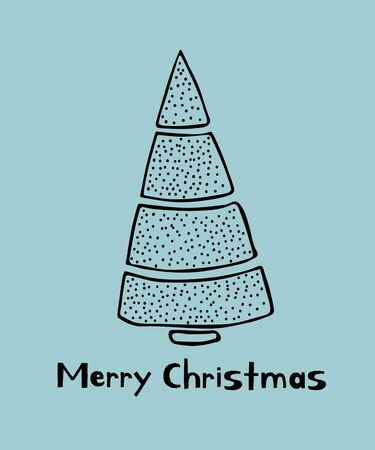 Merry Christmas greeting card with doodle sketched fir trees. Line drawing. Vector. Ilustrace