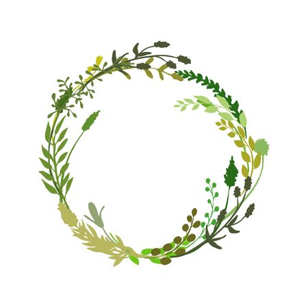 Floral wreath made of grass in circle. Hand drawn wild herbs and flowers. Botanical illustration. Great to place text, quote. Round frame or border. Vector