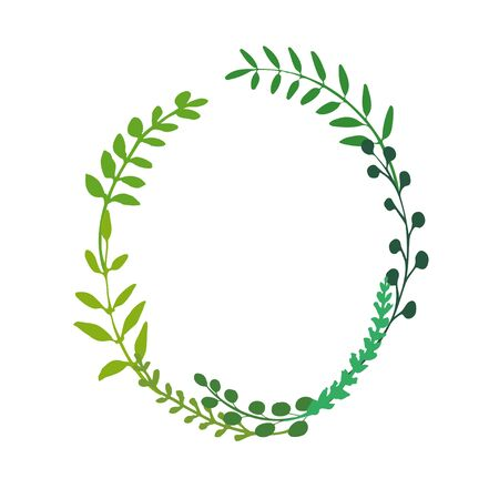 Oval frame made of branch, herbs, twigs and flowers. Wreath great to place any text, quote or logo. Green foliage isolated on white. Vector i
