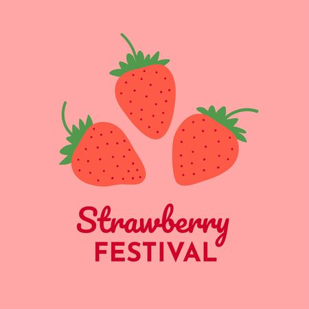 Strawberry plant background. Simple template with pink berries for Strawberry Festival. Cartoon flat design. Vector illustration.