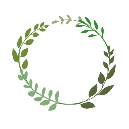 Laurel or wreath made of green twigs. Round floral frame with hand drawn plants great to place any text, quote . Rustic design great for summer or spring event. Vector illustration