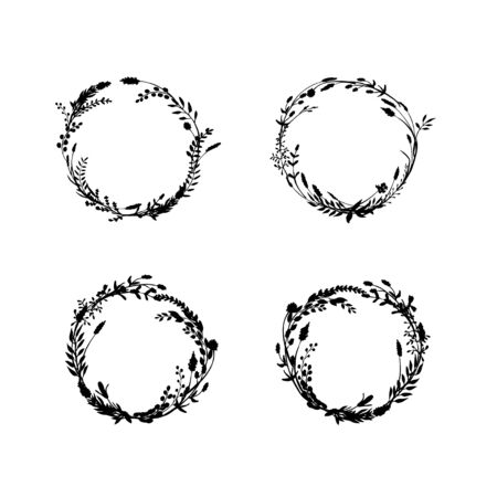 Sketch wreath set made of ink drawn wild plants, flowers and herbs.