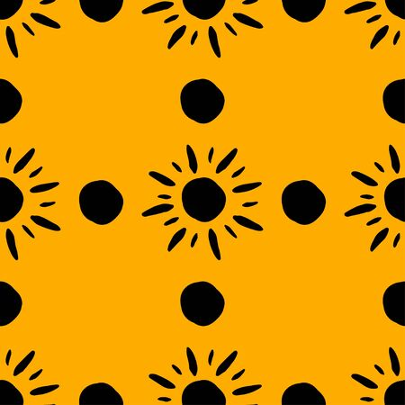 Yellow pattern with hand drawn sun symbol stylized in folk etnic style of ancient culture. Gold on black background. Seamless design. Great for fabric, scrapbooking and textile.