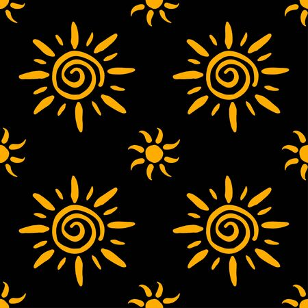 Seamless pattern made of vintage sun signs. Great to use for occult, magic and esoteric design. Black gold backdrop. Great for fabric, scrapbooking and textile.