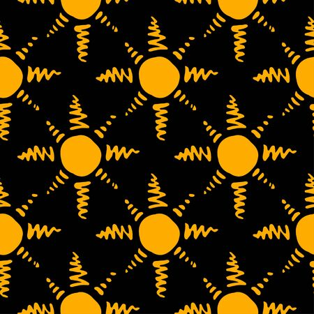 Pattern with hand drawn sun symbol stylized in folk etnic style of ancient culture. Gold yellow on black background. Seamless design.