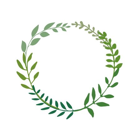 Herbal wreaths great to place any text, quote . Floral frame made of hand drawn twigs. Round border design great for spring or summer theme. Vector