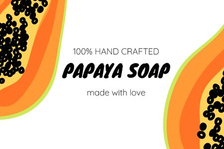 Papaya fruit background. Label template for soap or juice package. Product design. Colorful vector